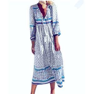 MISSLOOK Deep V Boho Midi Dress